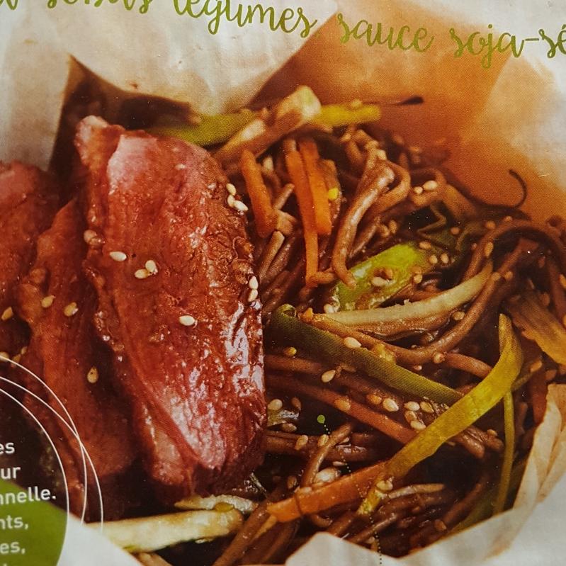 Poêlée canard-sobas-légumes sauce soja-sésame