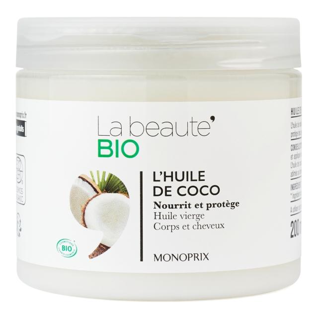 L'huile de coco La beauté bio Monoprix